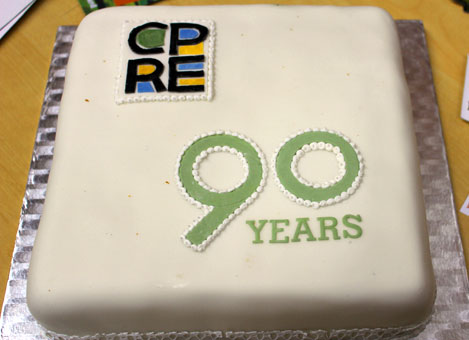 Cake celebrating 90 years of CPRE