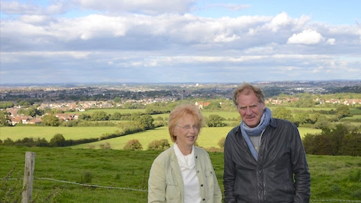 Picture: Sir Andrew Motion, CPRE Vice President; and local campaigner Jill Britten, looking out over Bristol and the Avon Green Belt
